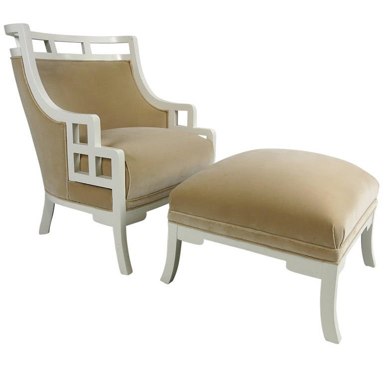 "Pair of ""Wallis Simpson"" Lounge Chairs with Ottomans by Jay Spectre"