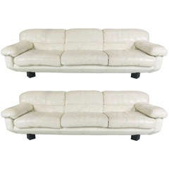 Pair of Sleek 80's Italian White Leather Sofas by Marco Zani