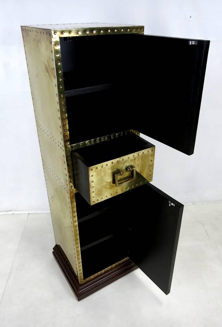 Rare Brass Clad Storage Pedestal by Sarreid Ltd at 1stdibs