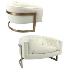 Exceptional Pair of Bronze Framed Lounge Chairs by Milo Baughman