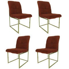 Set of Four Brass Framed Dining Chairs attributed to Milo Baughman