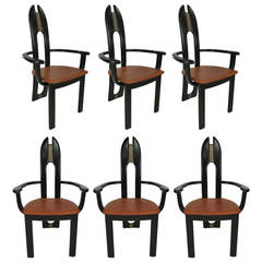 Set of Six Italian Avant Garde Dining Chairs