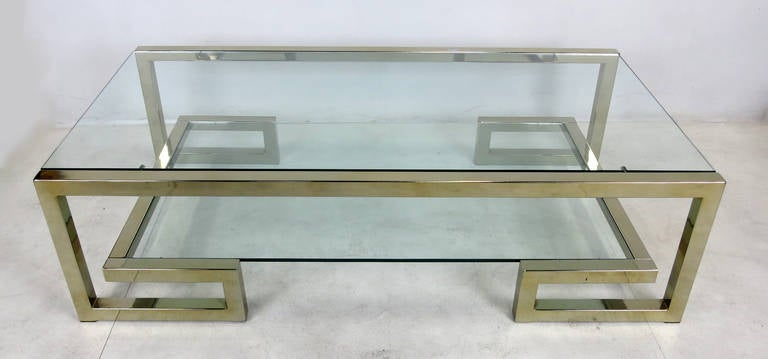 Two Level Brass Greek Key Coffee Table 3