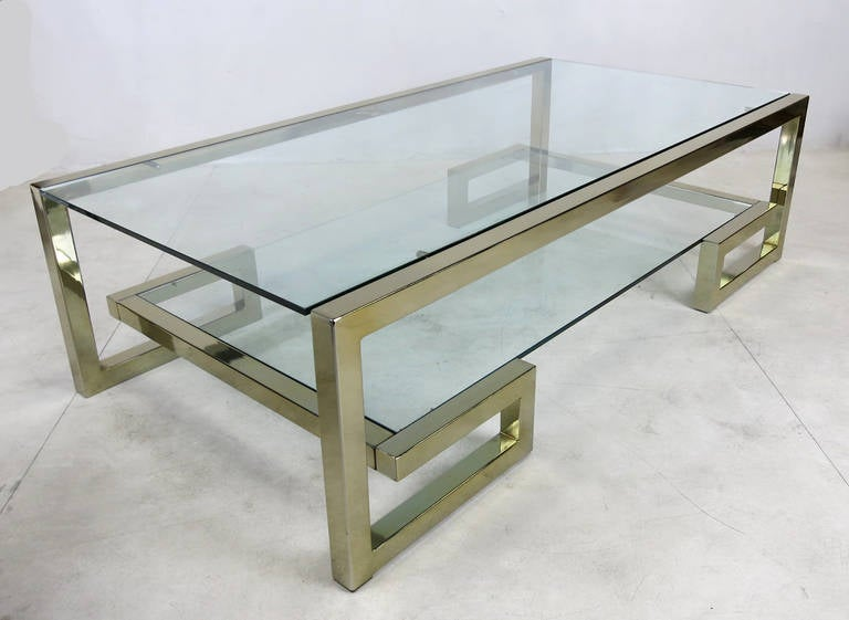 Two Level Brass Greek Key Coffee Table At 1stdibs