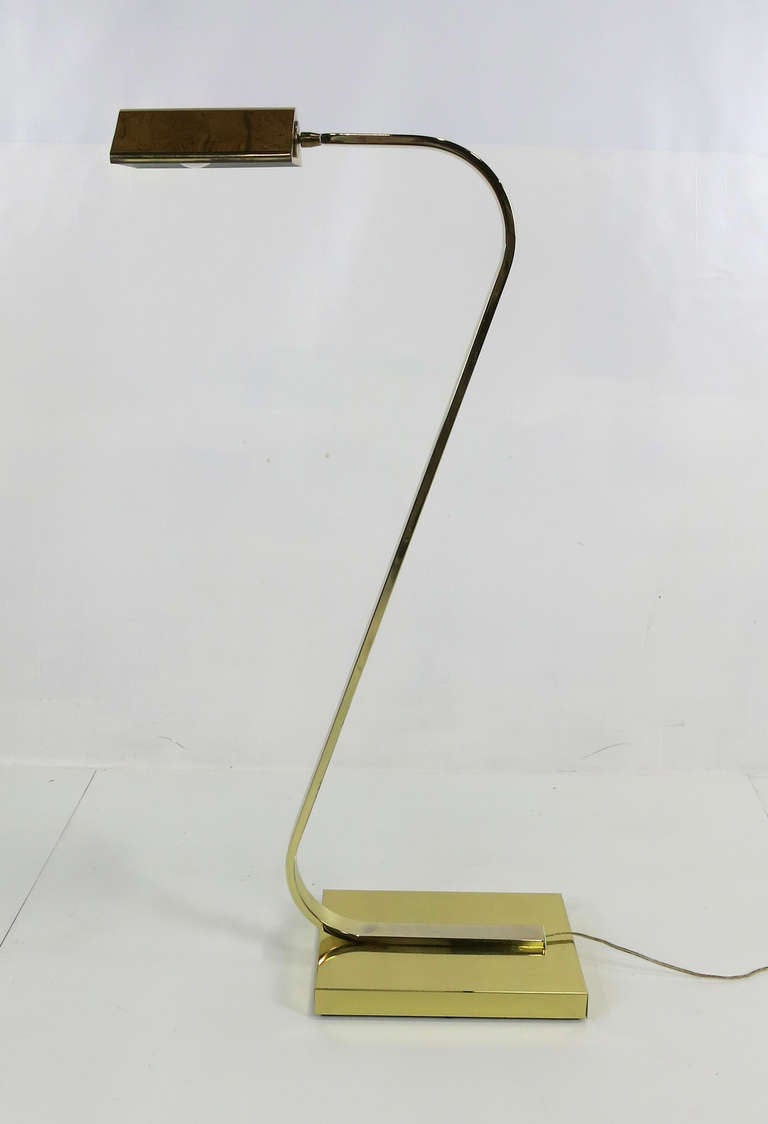 brass gooseneck pharmacy floor lamp at 1stdibs. Black Bedroom Furniture Sets. Home Design Ideas