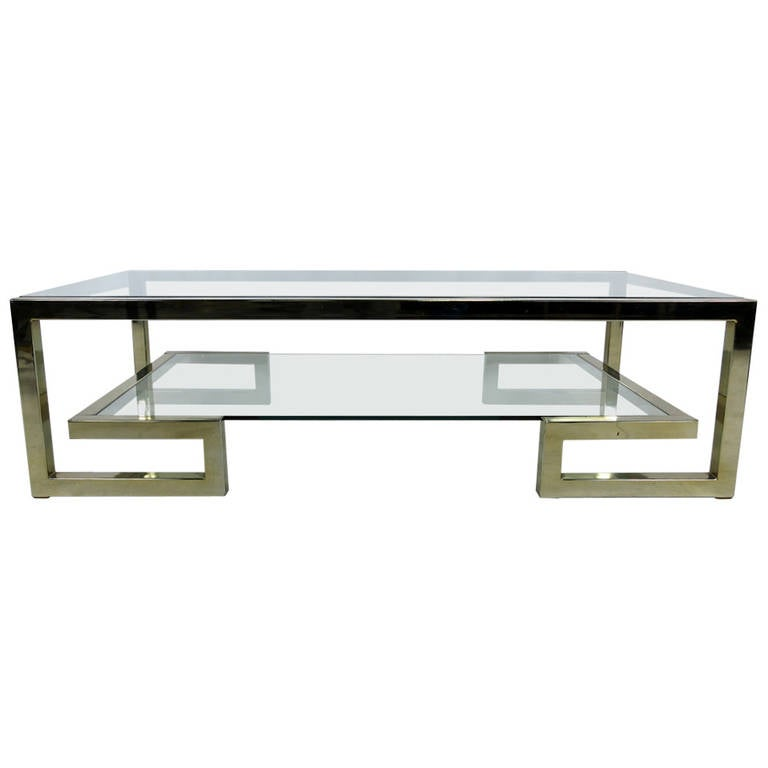 Two Level Brass Greek Key Coffee Table 1