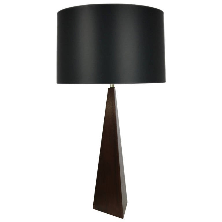 Tall Walnut Obelisk Table Lamp Attributed to Laurel