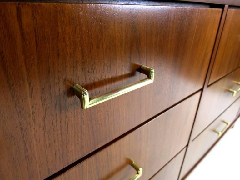 Figured Walnut Tambour Door Dresser With Brass Stretchers