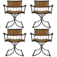 Set of Four Iron & Oak Armchairs by Cleo Baldon for Terra