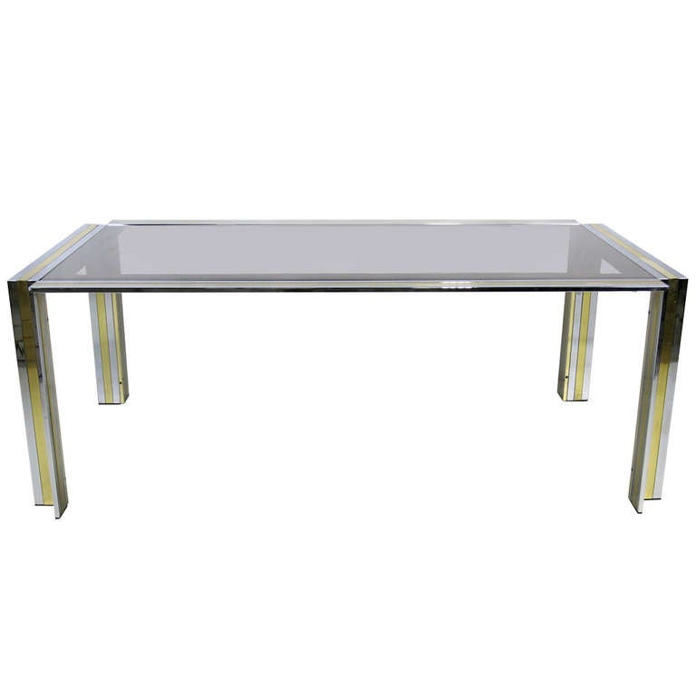 70's Chrome & Brass Dining Table by Romeo Rega- Italy For Sale