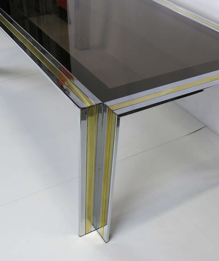 Modern 70's Chrome & Brass Dining Table by Romeo Rega- Italy For Sale