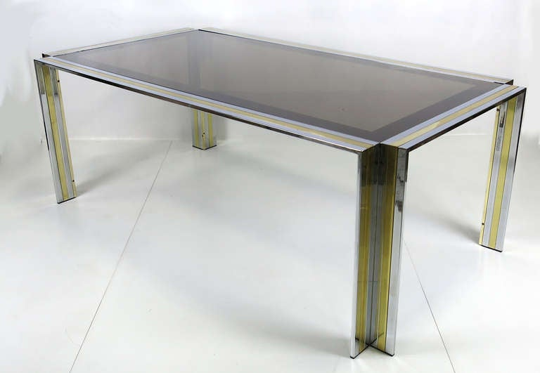 70's Chrome & Brass Dining Table by Romeo Rega- Italy In Good Condition For Sale In San Leandro, CA