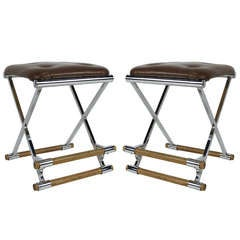 Pair of Chrome & Oak Counter Stools after Cleo Baldon