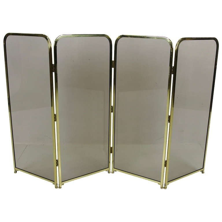 Four Panel Brass & Smoked Glass Fire Screen-England For Sale