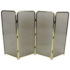 Four Panel Brass & Smoked Glass Fire Screen-England