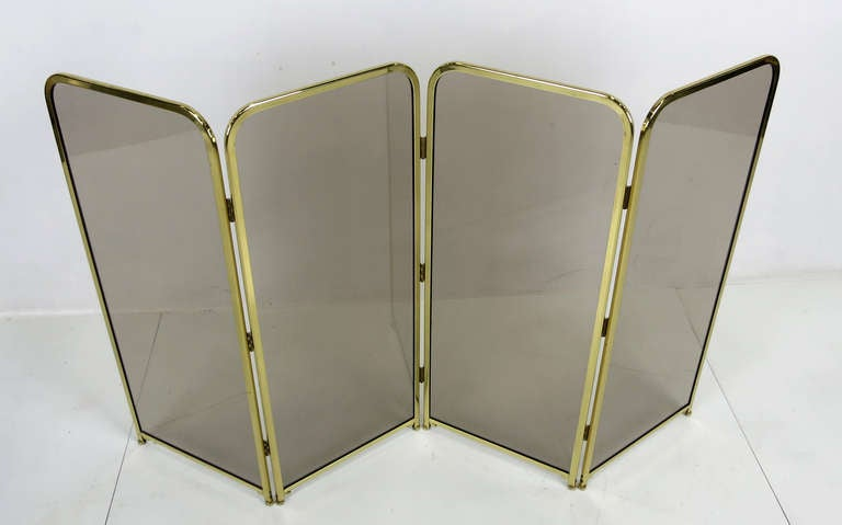 Modern Four Panel Brass & Smoked Glass Fire Screen-England For Sale