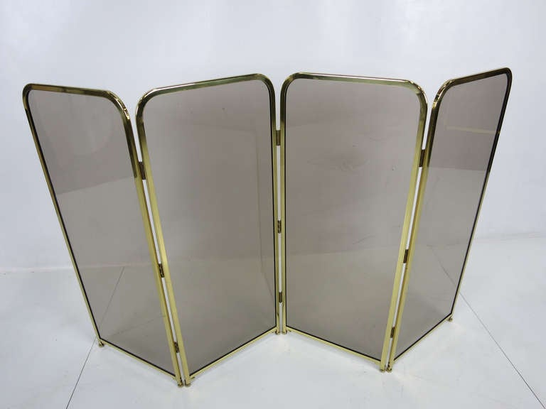 Four Panel Brass & Smoked Glass Fire Screen-England In Excellent Condition For Sale In San Leandro, CA
