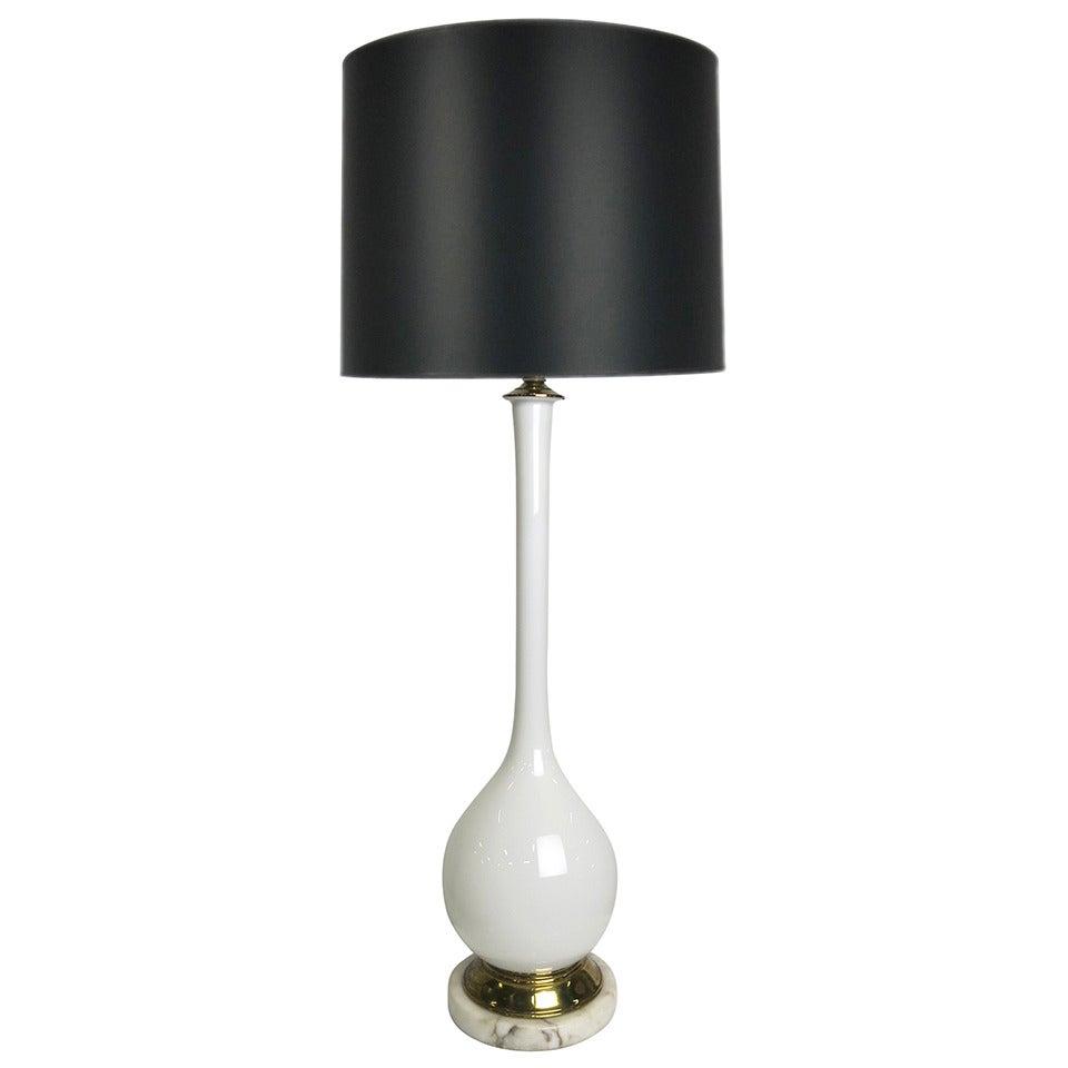 Hand Blown White Murano Glass Lamp by Marbro