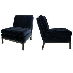 Pair of Velvet Slipper Chairs by Robsjohn-Gibbings for Widdicomb