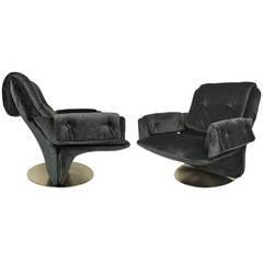 Pair of Italian Swivel Lounge Chairs