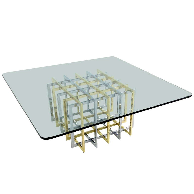 Perfect Brass U0026 Chrome Cage Form Coffee Table By Pierre Cardin 1