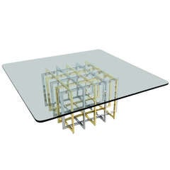Brass & Chrome Cage Form Coffee Table by Pierre Cardin