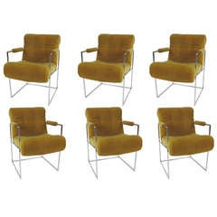 Set of Six Chrome Base Lounge/Dining Chairs by Milo Baughman