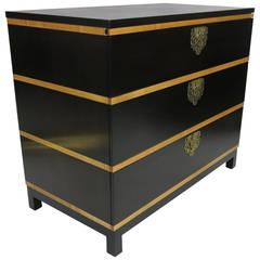 Midcentury Walnut Bachelor's Chest with Maple Trim