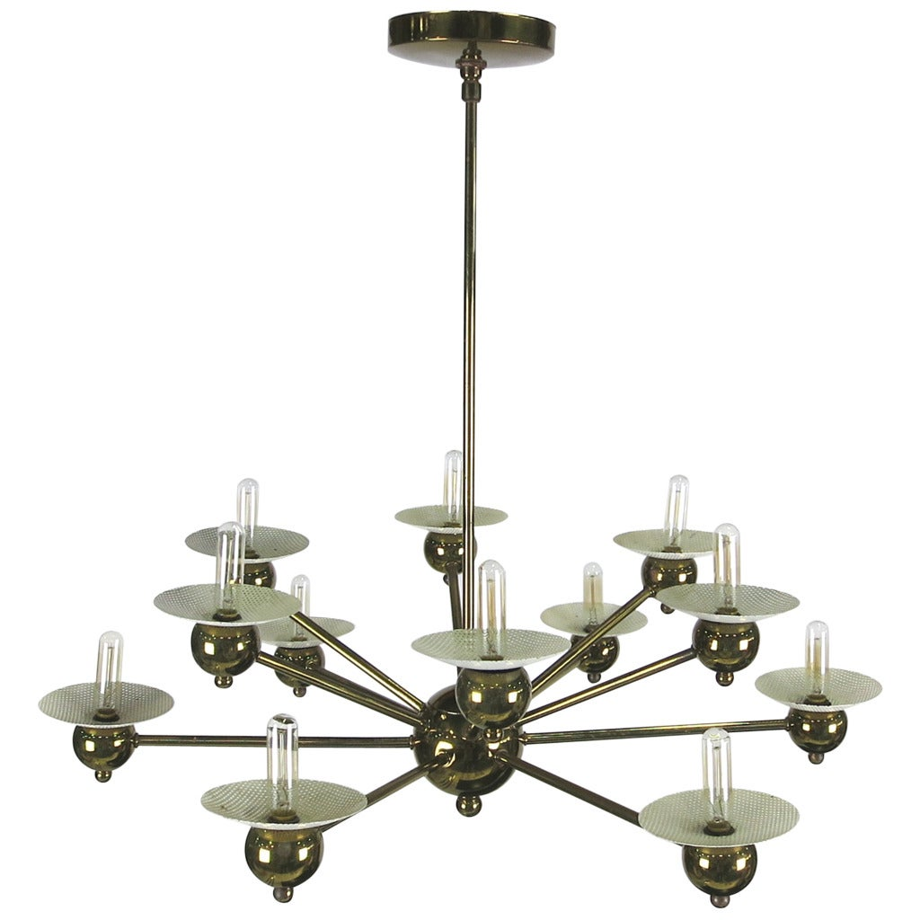 1950s Italian Modernist Brass Chandelier