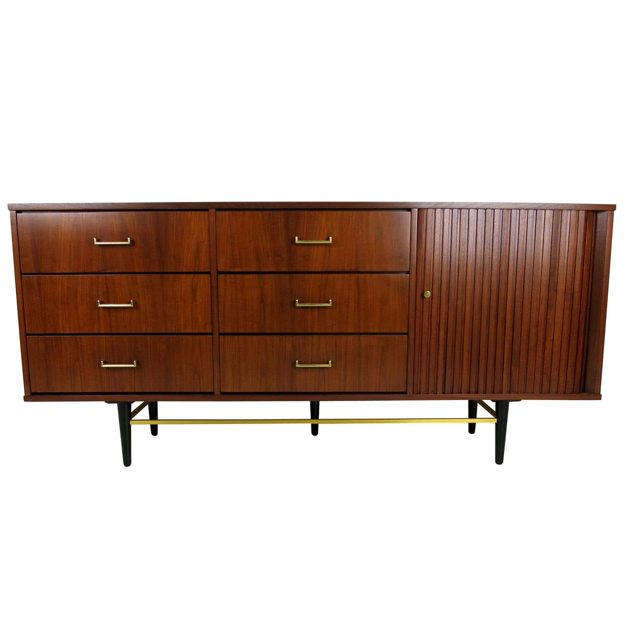 Figured Walnut Tambour Door Dresser with Brass Stretchers
