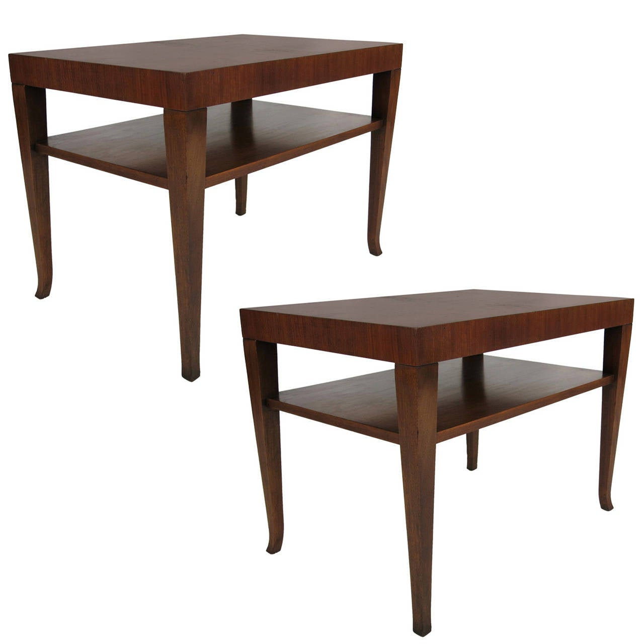 Pair of Walnut Side Table by T.H. Robsjohn-Gibbings