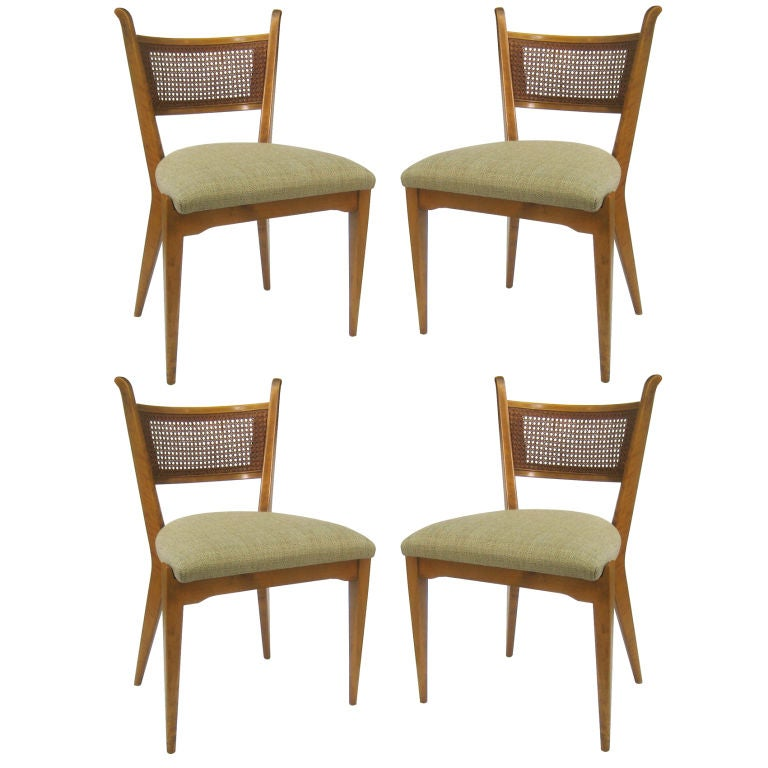 Stellar Set of Four Cane Back Side Chairs by Edmond Spence