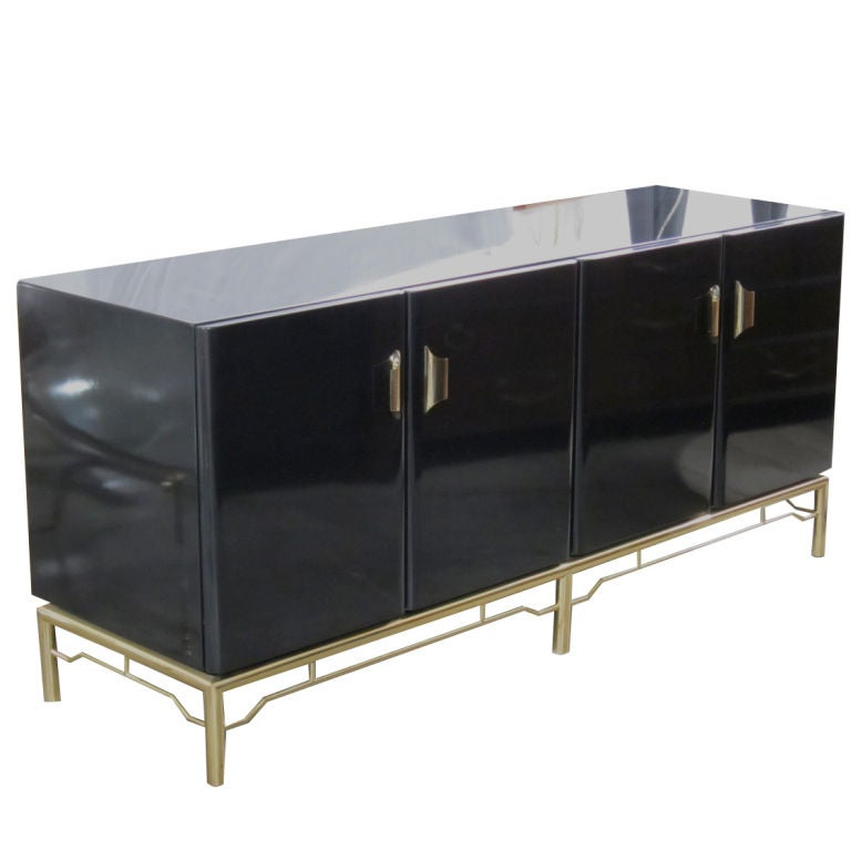Black Lacquer Credenza On Brass Base At 1stdibs