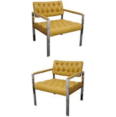 Pair of Tufted Leather and Chrome Club Chairs