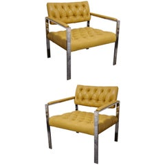 Pair of Italian Leather Lounge Chairs
