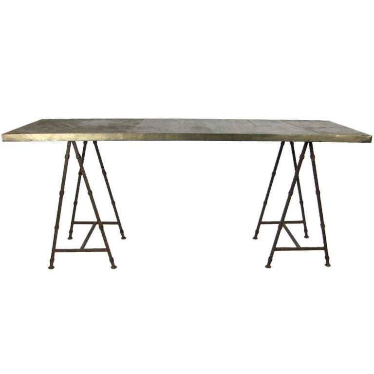 Wrought Iron Sawhorse Table With Bronze Veneer Top At 1stdibs