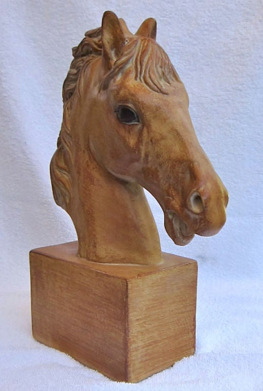 Pair of hand painted plaster Horse Head bookends.