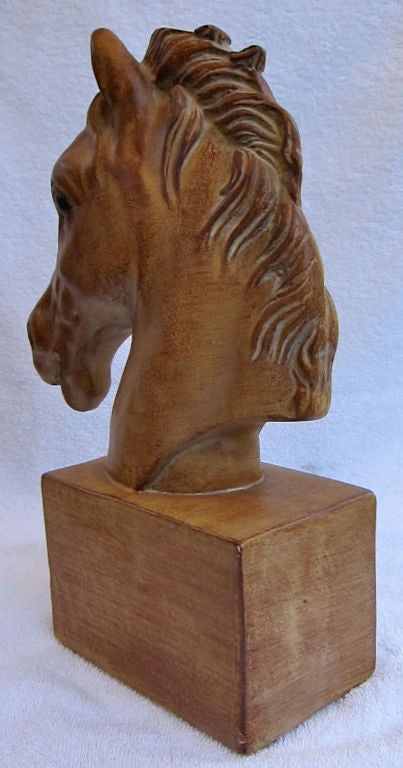 Pair of Italian Horse Head Bookends In Excellent Condition For Sale In San Leandro, CA