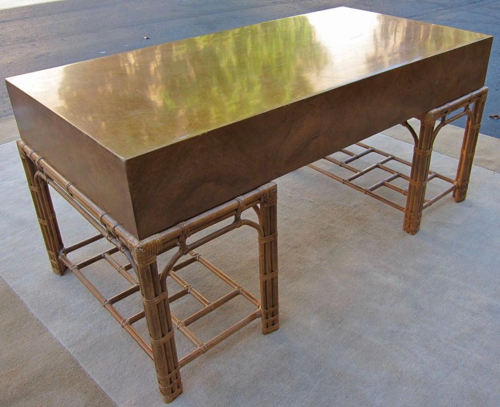 Fine Burlwood Executive Desk w/Rattan Base by Winsor White 4