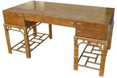Fine Burlwood Executive Desk w/Rattan Base by Winsor White image 2