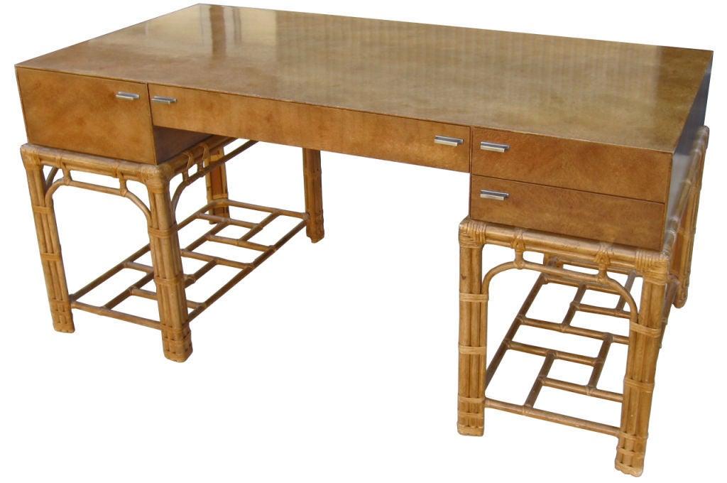 Fine Burlwood Executive Desk w/Rattan Base by Winsor White 1