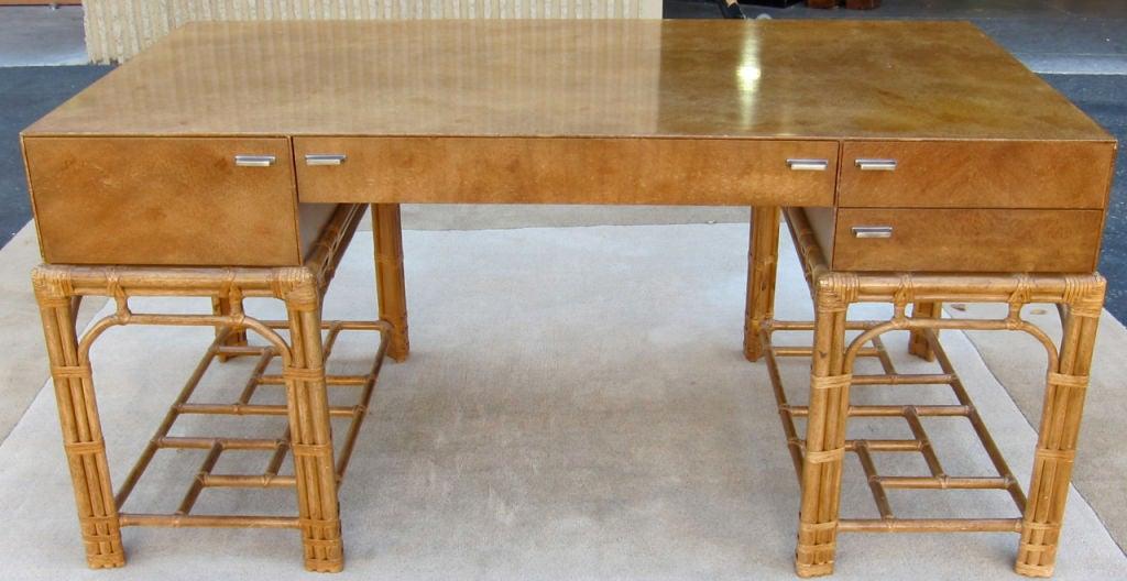 Fine Burlwood Executive Desk w/Rattan Base by Winsor White 5