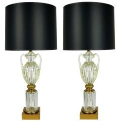 Large Pair of Seguso Glass Urn form Lamps by Marbro