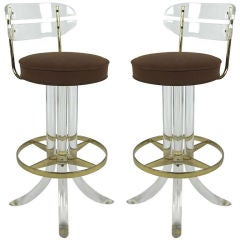 Pair of 70's Lucite & Brass Bar stools
