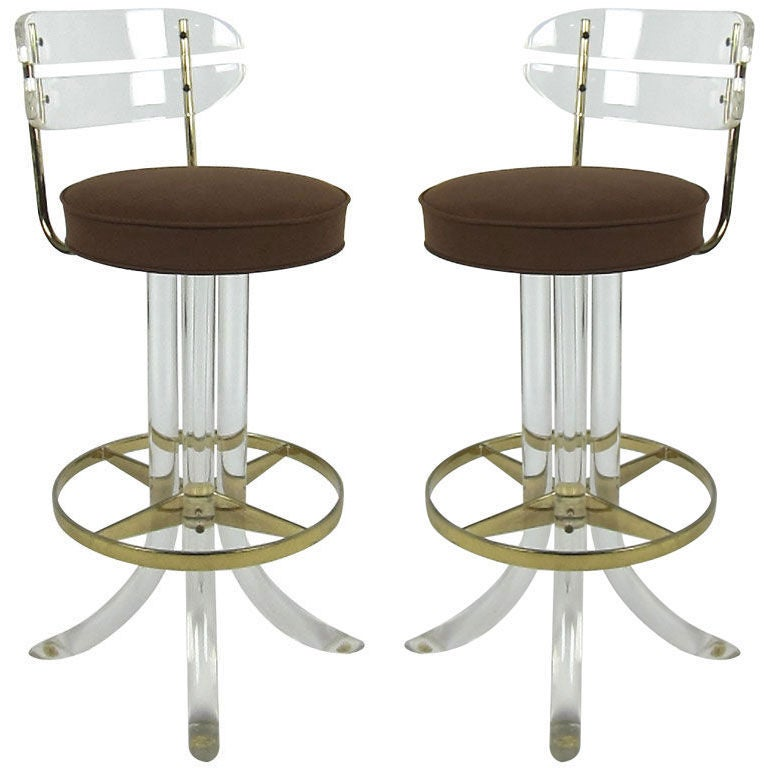 Pair of 70s Lucite and Brass Bar stools at 1stdibs