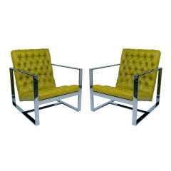 Rare Leather Lounge Chairs by Milo Baughman for Thayer Coggin