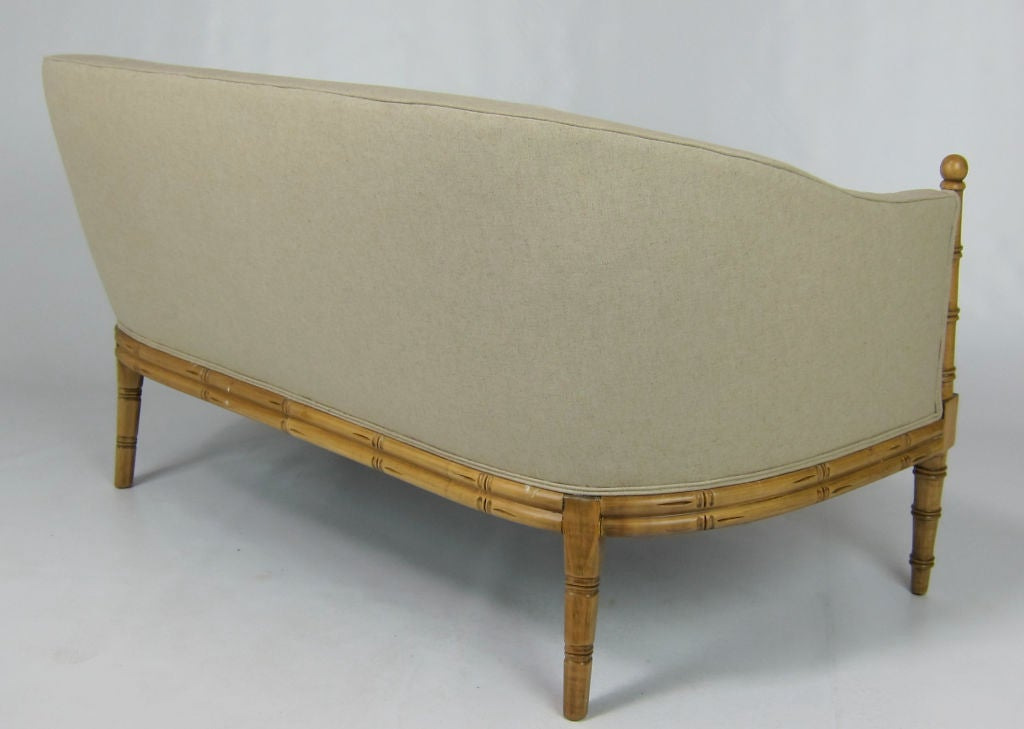 Italian Regency Style Faux Bamboo Settee For Sale