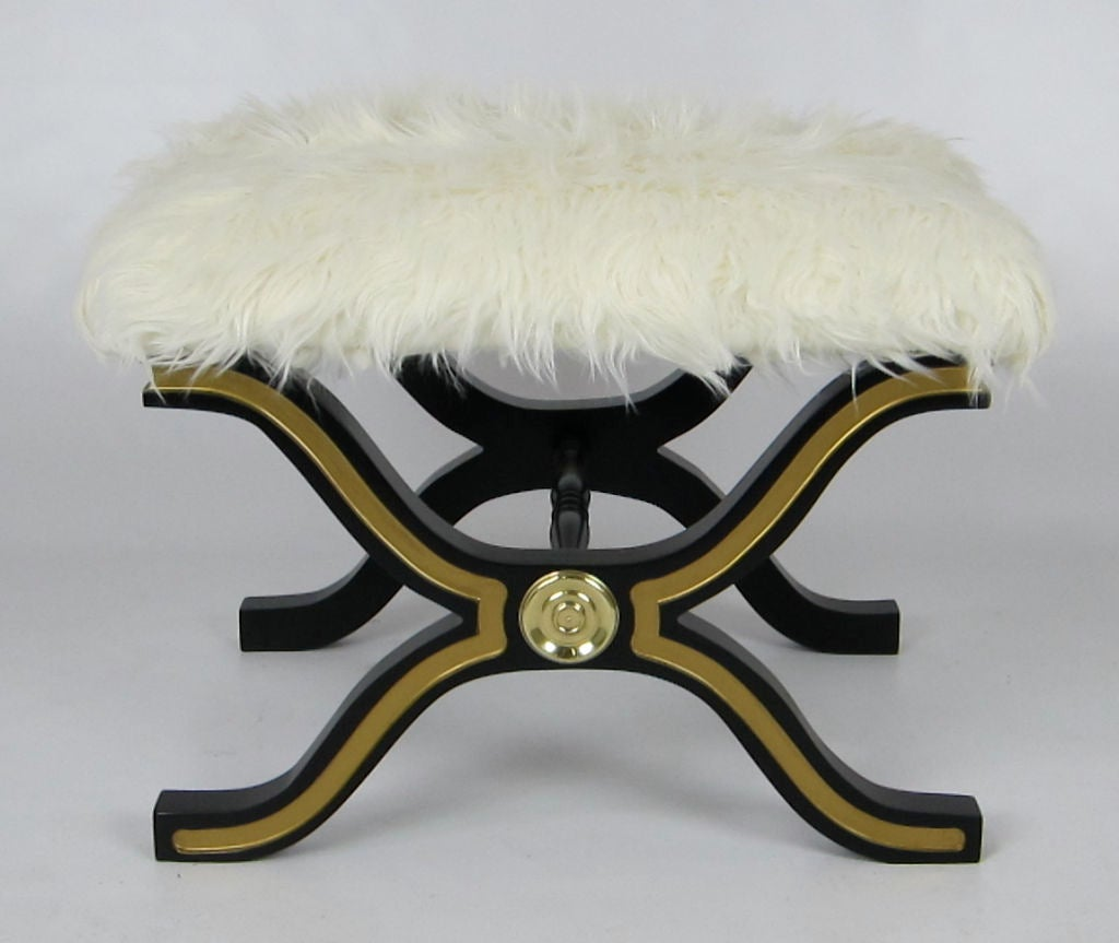 Gorgeous pair of X base benches by Dorothy Draper for Heritage with Tibetan Wool seats.  The bases have been meticulously restored in black lacquer with gold details.