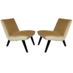 "Pair of Modern ""Scoop"" Slipper Chairs"