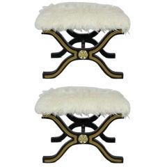 Pair of Dorothy Draper Espana Stools with Tibetan Wool Seats